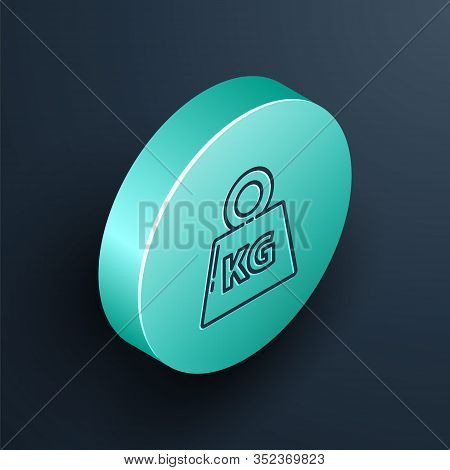 Isometric Line Weight Icon Isolated On Black Background. Kilogram Weight Block For Weight Lifting An
