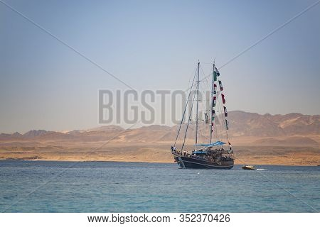 Sea Ship Sailing Under Sunset View, Sharm El Sheikh, Egypt