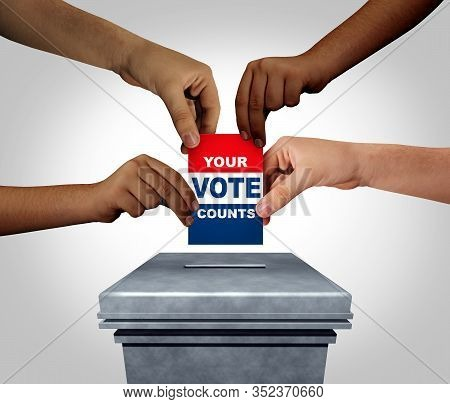 Your Vote Counts As Diverse Hands Casting A Ballot At A Voting Polling Station As An Election And De