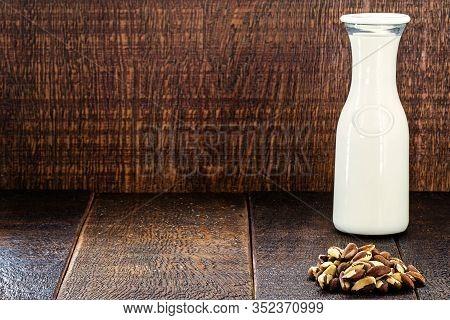 Vegan Milk Extracted From Chestnuts. Milk Extracted From The Brazilian Chestnut Known As Brazil Nut,