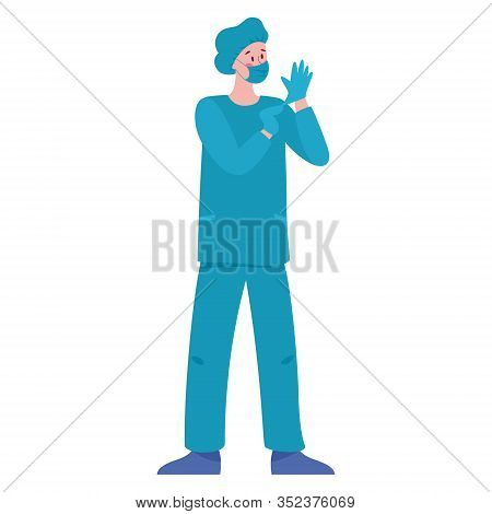 Male Surgeon Doctor In Gloves And A Mask On His Face. Professional Medicine