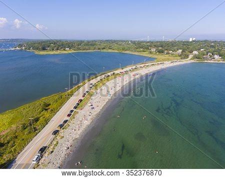 Mackeral Cove Beach And Dutch Island Harbor At Narragansett Bay Aerial View In Summer, Jamestown, Rh