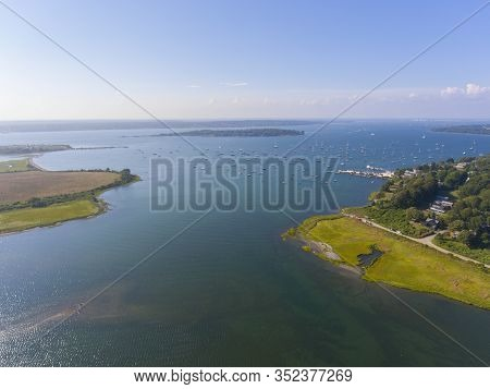 Dutch Island Harbor At Narragansett Bay Aerial View In Summer, Jamestown, Rhode Island Ri, Usa.