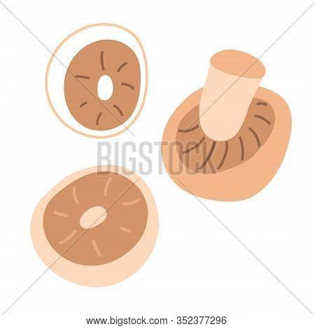 Champignon Mushroom Illustration Set. Pile Of Raw Champignons Isolated. Fresh Portobello Mushrooms,