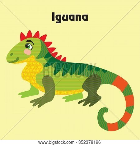 Colorful Decorative Outline Cute Iguana Sittiing In Profile. Wild Animals And Birds Vector Cartoon C