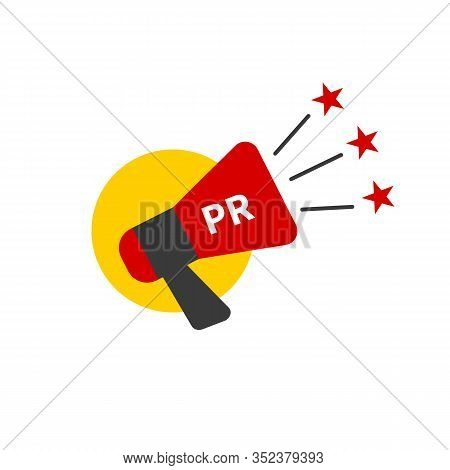 Pr Agency Logo, Public Relations Icon, Megaphone With Stars, Promotion In Social Media Vector Sign