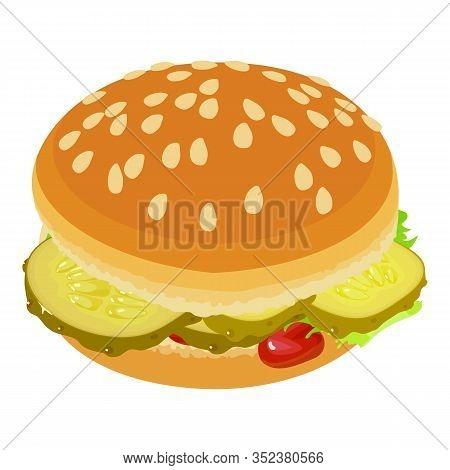 Appetizing Burger Icon. Isometric Illustration Of Appetizing Burger Vector Icon For Web