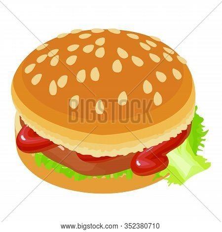 Tasty Hamburger Icon. Isometric Illustration Of Tasty Hamburger Vector Icon For Web