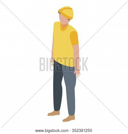Port Cargo Worker Icon. Isometric Of Port Cargo Worker Vector Icon For Web Design Isolated On White