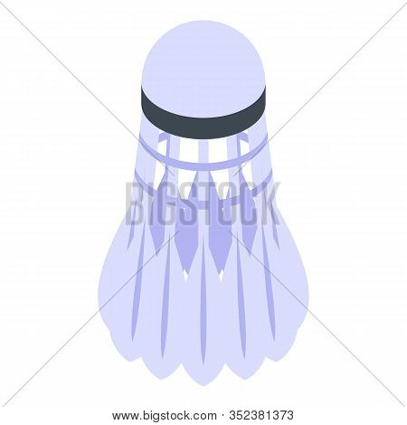Feather Shuttlecock Icon. Isometric Of Feather Shuttlecock Vector Icon For Web Design Isolated On Wh