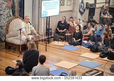 Moscow, Russia - 24 Feb 2020: Iskcon Temple Moscow. Guru Gives A Lecture In The Iskon Temple. Devote
