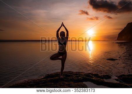 Vrikshasana Asana. Young Woman Practicing Tree Pose At The Beach During Sunset Golden Hour. Arms Rai