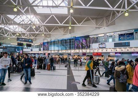 Budapest, Hungary - February 2020: Ferenc Liszt International Airport Budapest Architecture And Pass
