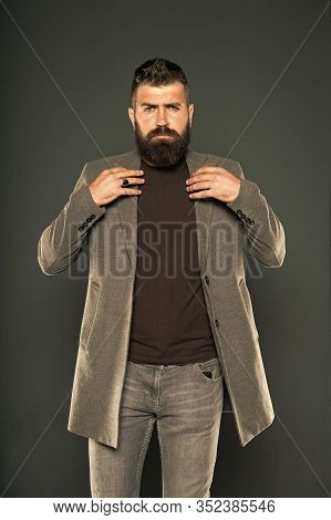 Masculine Look. Brutal Hipster Man. Hipster Wearing Casual Clothes. Hipster Beard And Stylish Haircu