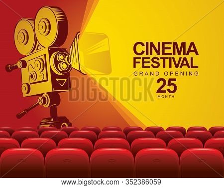 Vector Cinema Festival Poster With Old Fashioned Movie Camera. Cinema Hall With Big Screen And Red S