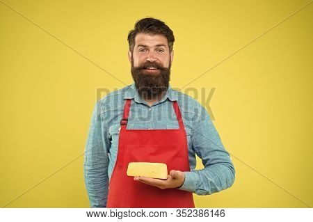 Is Under Control. Happy Bearded Man Hold Cheese. Cheesemaking Techniques. Cheese Maker. Hipster With