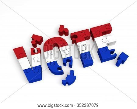 A 3d Illustration Of Red, White And Blue Puzzle Pieces Partially Assembled To Spell
