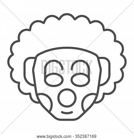 Curly Clown Thin Line Icon. Party Harlequin Jester Face With Makeup And Frizz Hair. Happy Birthday V