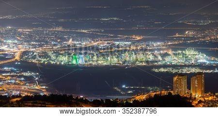 The Haifa metropolitan area, Industrial Zone of Haifa At Night, Aerial View, Israel