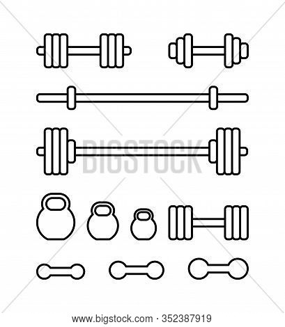 Set Of Sports Equipment For Gym. Barbell, Kettlebell, Barbell Bar And Dumbbell In Linear Style Isola