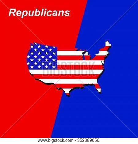 American Politics Republicans Vs Democrats Vector Illustration