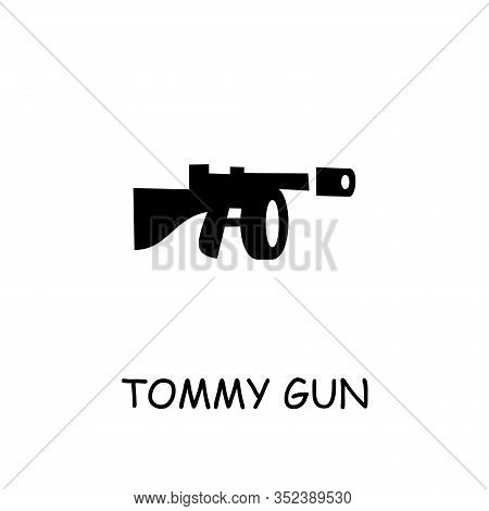 Tommy Gun Flat Vector Icon. Hand Drawn Style Design Illustrations.