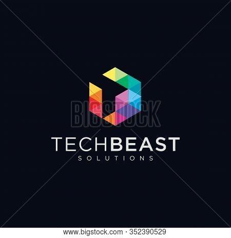 Letter T Hexagon Tech Logo . Abstract Pixel Hexagon Logo Letter T Colorfull Design Illustration . He