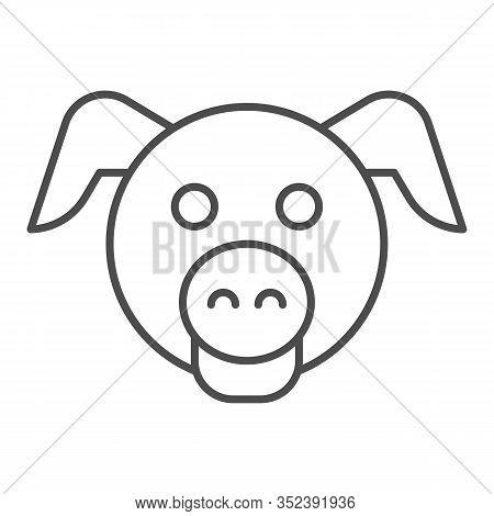 Pig Head Thin Line Icon. Minimal Pig Face Symbol, Domestic Farm Hog. Animals Vector Design Concept,