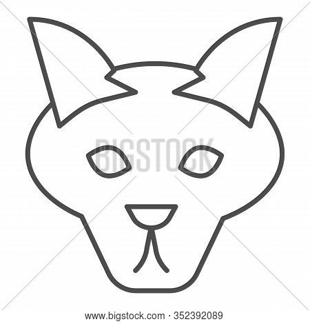 Wolf Head Thin Line Icon. Coyote, Wild Animal Face, Simple Silhouette. Animals Vector Design Concept