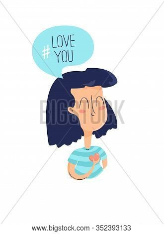 Cartoon Girl With A Heart In Her Hand Confesses Her Love. Summer Card In Flat Linear Style. Vector.