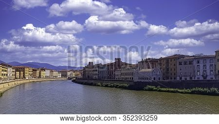 Pisa, Tuscany, Italy - September 20: Arno River And Vintage Architecture Of Pisa On September 20, 20