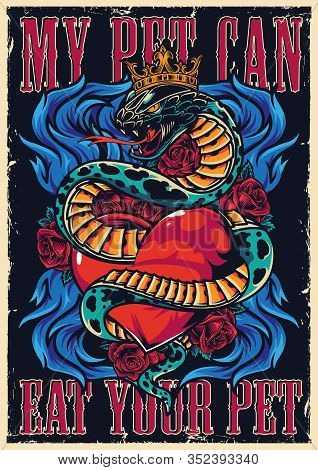 Colorful Tattoo Authentic Poster With Rose Flowers Blue Fire Lettering And Snake In Crown Entwined A