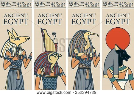 Set Of Vector Posters Or Flyers For Travel Agency With Egyptian Hieroglyphs And Inscription Ancient