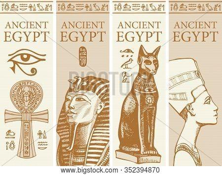Set Of Vector Travel Banners With Images Of Coptic Ankh Cross, Tutankhamun, Goddess Bastet And Nefer