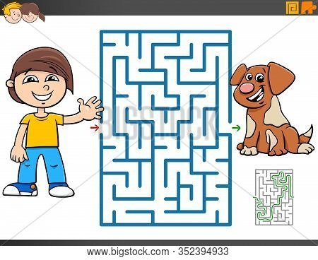 Cartoon Illustration Of Educational Maze Puzzle Game For Children With Boy And Puppy Dog Character