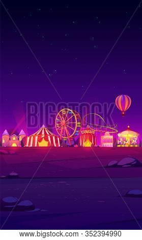 Smartphone Background Theme With Carnival Funfair At Night. Vector Template For Mobile Phone Screen