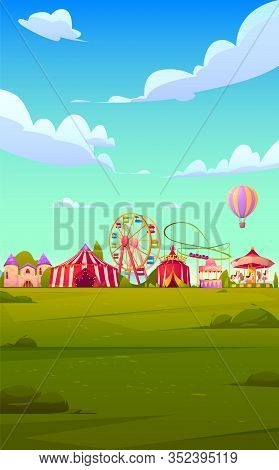 Smartphone Background Theme With Carnival Funfair. Vector Template For Mobile Phone Screen Saver Wit