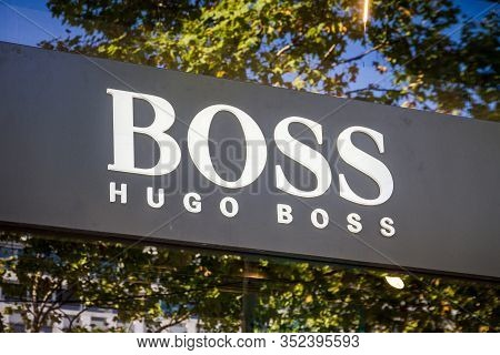 Paris/france - September 10, 2019 : The Hugo Boss Luxury Store Entrance Sign On Champs-elysees Avenu