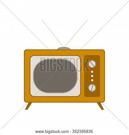 Vintage Tv ,vector Illustration, Flat Style,front View Retro