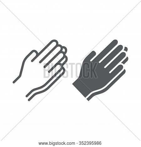 Pray Line And Glyph Icon, Religion And Prayer, Hands Praying Sign, Vector Graphics, A Linear Pattern