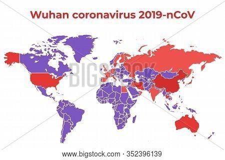 Wuhan Coronavirus 2019-ncov. February 2020. World Map With Countries. Countries Where The Virus Has