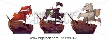 Ships After Shipwreck, Old Broken Sail Boats. Vector Cartoon Abandoned Or Sunken Galleon, Pirate Ves