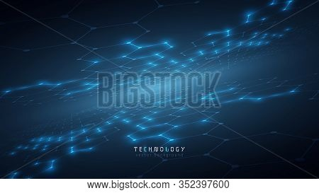 Communication Blue Abstract Hexagon Technology Background,futuristic Hexagon Tech Background,cybersp