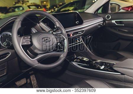 Russia, Ufa - January 21, 2020: New Modern Sonata Car In The Hyundai Showroom. Famous World Brand.