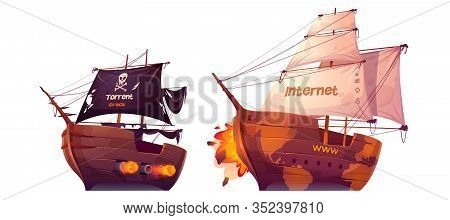 Battle Between Torrent And Internet. Vector Cartoon Pirate Ship Attacks Sail Boat Isolated On White