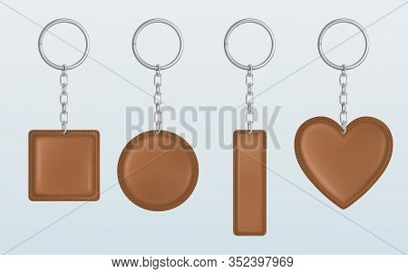 Leather Keychain, Holder Trinket For Key With Metal Chain And Ring. Vector Realistic Template Of Bro