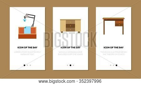 Table Flat Icon Set. Wood, Work, Desk Isolated Vector Sign Pack. Furniture And Indoor Concept. Vecto