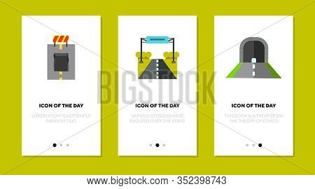 Road Surface Flat Icon Set. Driving, Asphalt, Way Isolated Vector Sign Pack. Roadway And Constructio