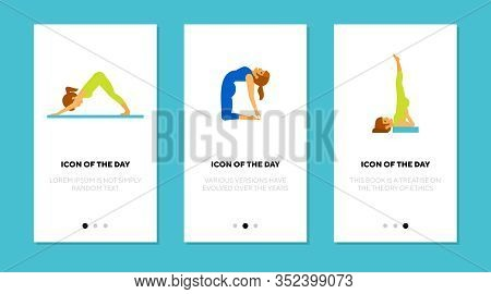 Yoga Asana Flat Icon Set. Equilibrium, Pose, Stretching Isolated Vector Sign Pack. Health And Lifest