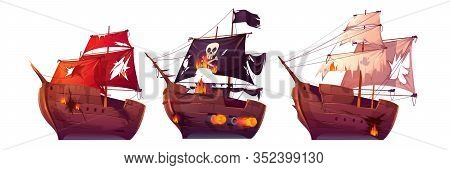 Sea Battle Of Wooden Ships. Fight Of Pirate Galleon And Sailboats. Corsairs With Black Flag Attack F
